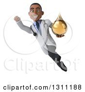 Clipart Of A 3d Young Black Male Naturopathic Doctor Flying And Holding An Amber Medicine Or Tincture Drop 2 Royalty Free Illustration