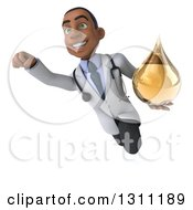 Clipart Of A 3d Young Black Male Naturopathic Doctor Flying And Holding An Amber Medicine Or Tincture Drop 3 Royalty Free Illustration