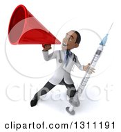 Clipart Of A 3d Young Black Male Doctor Holding A Giant Vaccine Syringe And Announcing Upwards With A Megaphone Royalty Free Illustration