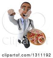 Clipart Of A 3d Young Black Male Nutritionist Doctor Flying And Holding A Pizza Royalty Free Illustration