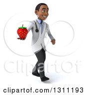 Clipart Of A 3d Young Black Male Doctor Or Nutritionist Walking To The Right And Holding A Strawberry Royalty Free Illustration
