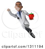 Clipart Of A 3d Young Black Male Nutritionist Doctor Flying And Holding A Strawberry Royalty Free Illustration