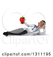 Clipart Of A 3d Young Black Male Nutritionist Doctor Resting On His Side And Holding A Strawberry Royalty Free Illustration
