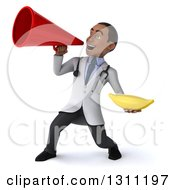 Clipart Of A 3d Young Black Male Doctor Or Nutritionist Holding A Banana And Announcing With A Megaphone Royalty Free Illustration