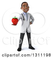 Clipart Of A 3d Young Black Male Nutritionist Doctor Holding Out A Strawberry Royalty Free Illustration