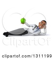 Clipart Of A 3d Young Black Male Doctor Or Nutritionist Resting On His Side And Holding A Green Apple Royalty Free Illustration