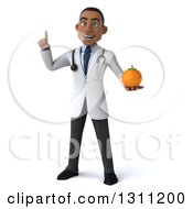 Clipart Of A 3d Young Black Male Nutritionist Doctor Holding Up A Finger And An Orange Royalty Free Illustration