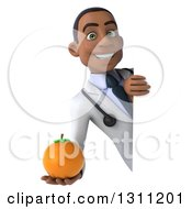 Clipart Of A 3d Young Black Male Nutritionist Doctor Holding An Orange Around A Sign Royalty Free Illustration