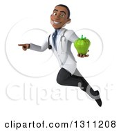 Clipart Of A 3d Young Black Male Doctor Or Nutritionist Flying Pointing And Holding A Green Bell Pepper Royalty Free Illustration
