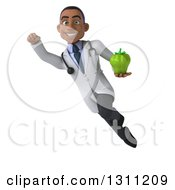 Clipart Of A 3d Young Black Male Nutritionist Doctor Flying And Holding A Green Bell Pepper 2 Royalty Free Illustration
