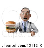 Clipart Of A 3d Young Black Male Nutritionist Doctor Holding A Double Cheeseburger Over A Sign Royalty Free Illustration