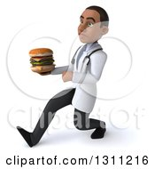 Clipart Of A 3d Young Black Male Doctor Or Nutritionist Speed Walking To The Left And Holding A Double Cheeseburger Royalty Free Illustration