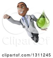 Clipart Of A 3d Young Black Male Naturopathic Doctor Flying And Holding A Green Medicine Or Tincture Drop 2 Royalty Free Illustration