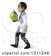 Clipart Of A 3d Young Black Male Naturopathic Doctor Walking To The Left And Holding A Green Medicine Or Tincture Drop Royalty Free Illustration