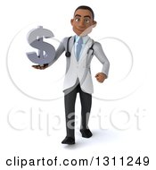 Clipart Of A 3d Young Black Male Doctor Walking And Holding A Dollar Symbol Royalty Free Illustration