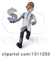 Clipart Of A 3d Young Black Male Doctor Speed Walking And Holding A Dollar Symbol Royalty Free Illustration