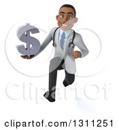 Clipart Of A 3d Young Black Male Doctor Sprinting And Holding A Dollar Symbol Royalty Free Illustration