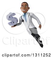 Clipart Of A 3d Young Black Male Doctor Flying And Holding A Dollar Symbol Royalty Free Illustration