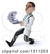 Clipart Of A 3d Young Black Male Doctor Speed Walking To The Left And Holding A Euro Symbol Royalty Free Illustration