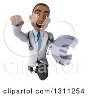 Clipart Of A 3d Young Black Male Doctor Flying And Holding A Euro Symbol Royalty Free Illustration