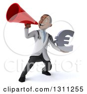 Clipart Of A 3d Young Black Male Doctor Holding A Euro Symbol And Announcing With A Megaphone Royalty Free Illustration