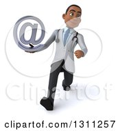 Clipart Of A 3d Young Black Male Doctor Speed Walking And Holding An Email Arobase At Symbol Royalty Free Illustration
