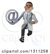 Clipart Of A 3d Young Black Male Doctor Sprinting And Holding An Email Arobase At Symbol Royalty Free Illustration
