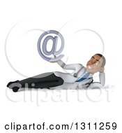 Clipart Of A 3d Young Black Male Doctor Resting On His Side And Holding An Email Arobase At Symbol Royalty Free Illustration