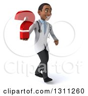 Clipart Of A 3d Young Black Male Doctor Walking To The Right And Holding A Question Mark Royalty Free Illustration