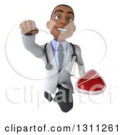 Clipart Of A 3d Young Black Male Doctor Flying And Holding A Beef Steak Royalty Free Illustration