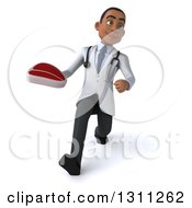 Clipart Of A 3d Young Black Male Doctor Or Nutritionist Speed Walking And Holding A Beef Steak Royalty Free Illustration