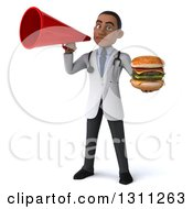 Clipart Of A 3d Young Black Male Nutritionist Doctor Holding A Double Cheeseburger And Announcing With A Megaphone Royalty Free Illustration