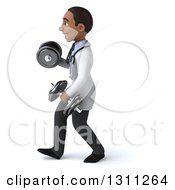 Clipart Of A 3d Young Black Male Doctor Working Out Walking To The Left And Doing Bicep Curls With Dumbbells Royalty Free Illustration