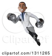 Clipart Of A 3d Young Black Male Doctor Working Out Flying And Doing Bicep Curls With Dumbbells Royalty Free Illustration