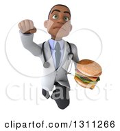 Clipart Of A 3d Young Black Male Nutritionist Doctor Flying And Holding A Double Cheeseburger 3 Royalty Free Illustration