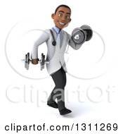 Clipart Of A 3d Young Black Male Doctor Working Out Walking To The Right And Doing Bicep Curls With Dumbbells Royalty Free Illustration