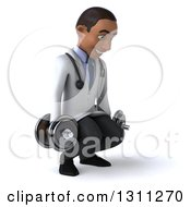 Clipart Of A 3d Young Black Male Doctor Facing Slightly Right Working Out Doing Squats With Dumbbells Royalty Free Illustration