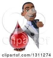 Clipart Of A 3d Young Black Male Phlebotomist Doctor Holding A Blood Drop Around A Sign Royalty Free Illustration