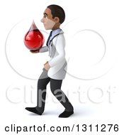 Clipart Of A 3d Young Black Male Phlebotomist Doctor Walking To The Left And Holding A Blood Drop Royalty Free Illustration