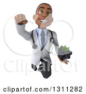 Clipart Of A 3d Young Black Male Nutritionist Doctor Flying And Holding A Blackberry Royalty Free Illustration