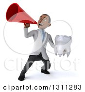 Clipart Of A 3d Young Black Male Dentist Holding A Giant Tooth And Announcing With A Megaphone Royalty Free Illustration by Julos