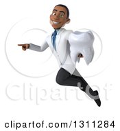 Clipart Of A 3d Young Black Male Dentist Flying Pointing And Holding A Giant Tooth Royalty Free Illustration by Julos
