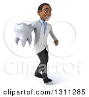 Clipart Of A 3d Young Black Male Dentist Walking To The Right And Holding A Giant Tooth Royalty Free Illustration by Julos