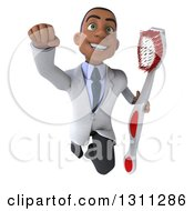 Clipart Of A 3d Young Black Male Dentist Flying And Holding A Giant Toothbrush Royalty Free Illustration