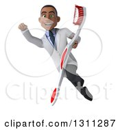 Clipart Of A 3d Young Black Male Dentist Flying And Holding A Giant Toothbrush 2 Royalty Free Illustration