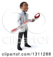 Clipart Of A 3d Young Black Male Dentist Facing Right And Holding A Giant Toothbrush Royalty Free Illustration