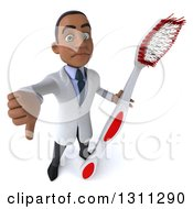 Clipart Of A 3d Young Black Male Dentist Holding Up A Thumb Down And A Giant Toothbrush Royalty Free Illustration