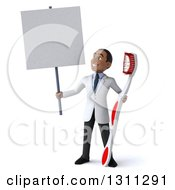 Clipart Of A 3d Young Black Male Dentist Holding A Giant Toothbrush And A Blank Sign Royalty Free Illustration