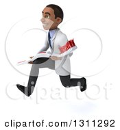 Clipart Of A 3d Young Black Male Dentist Sprinting To The Left And Holding A Giant Toothbrush Royalty Free Illustration