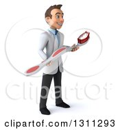 Clipart Of A 3d Happy Young Brunette White Male Dentist Facing Right With A Giant Toothbrush Royalty Free Illustration